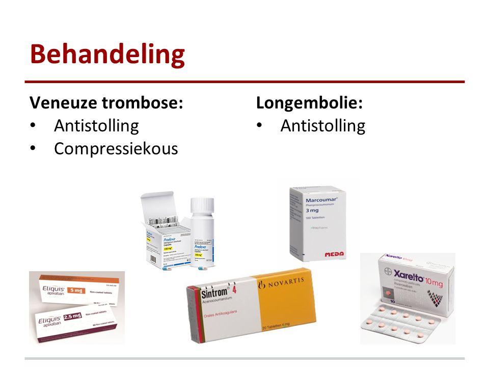 Behandeling Veneuze trombose: Antistolling Compressiekous Longembolie: Antistolling