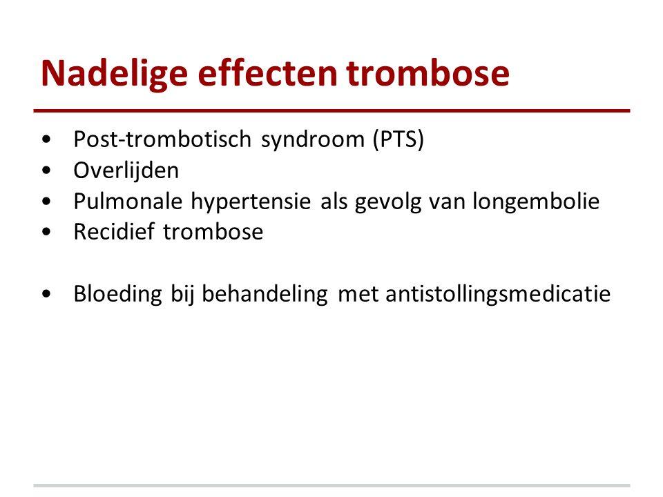 Nadelige effecten trombose Post-trombotisch syndroom (PTS) Overlijden Pulmonale hypertensie als gevolg van longembolie Recidief trombose Bloeding bij