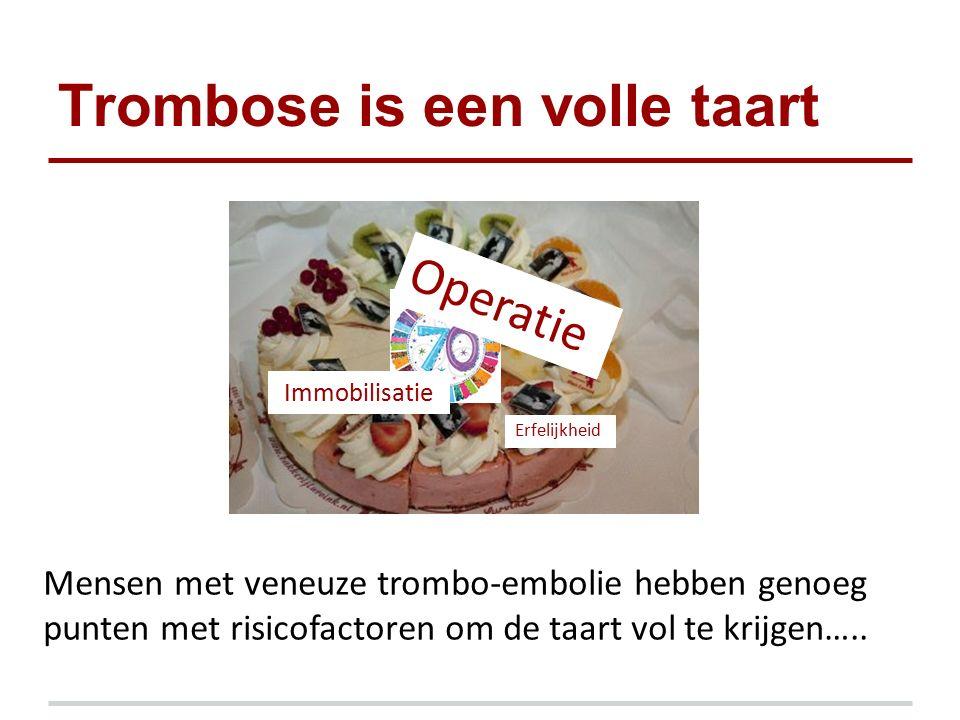 Trombose is een volle taart Mensen met veneuze trombo-embolie hebben genoeg punten met risicofactoren om de taart vol te krijgen….. Erfelijkheid Immob