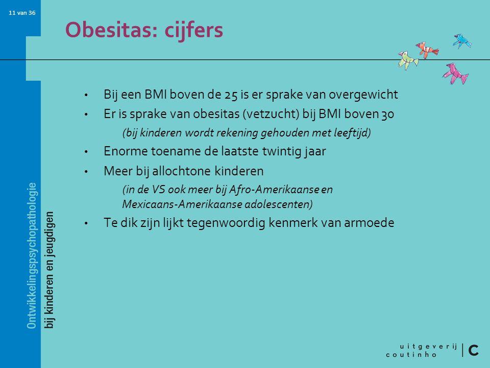 11 van 36 Obesitas: cijfers Bij een BMI boven de 25 is er sprake van overgewicht Er is sprake van obesitas (vetzucht) bij BMI boven 30 (bij kinderen w