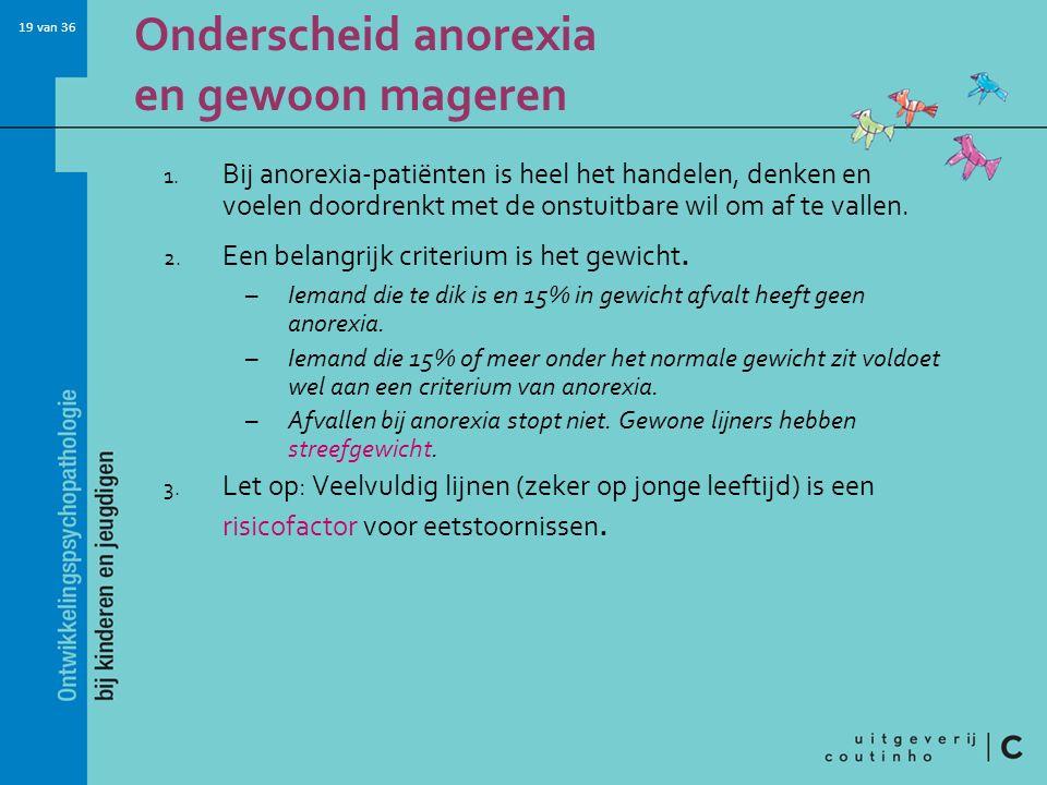19 van 36 Onderscheid anorexia en gewoon mageren 1.