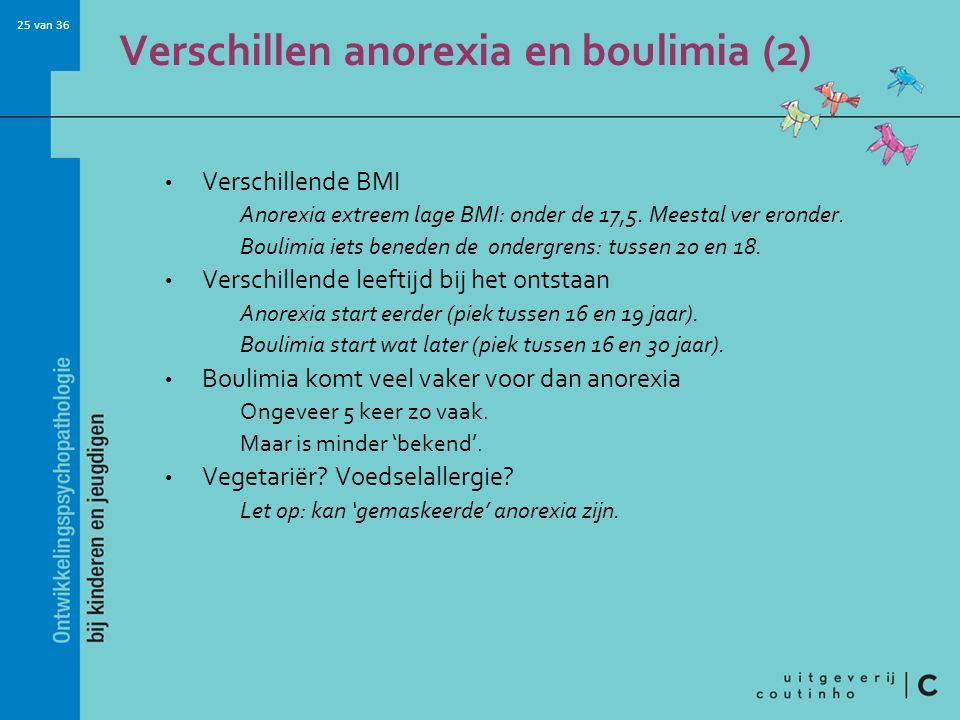 25 van 36 Verschillen anorexia en boulimia (2) Verschillende BMI Anorexia extreem lage BMI: onder de 17,5. Meestal ver eronder. Boulimia iets beneden