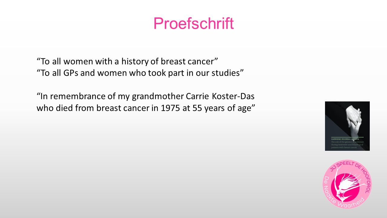 "Proefschrift ""To all women with a history of breast cancer"" ""To all GPs and women who took part in our studies"" ""In remembrance of my grandmother Carr"