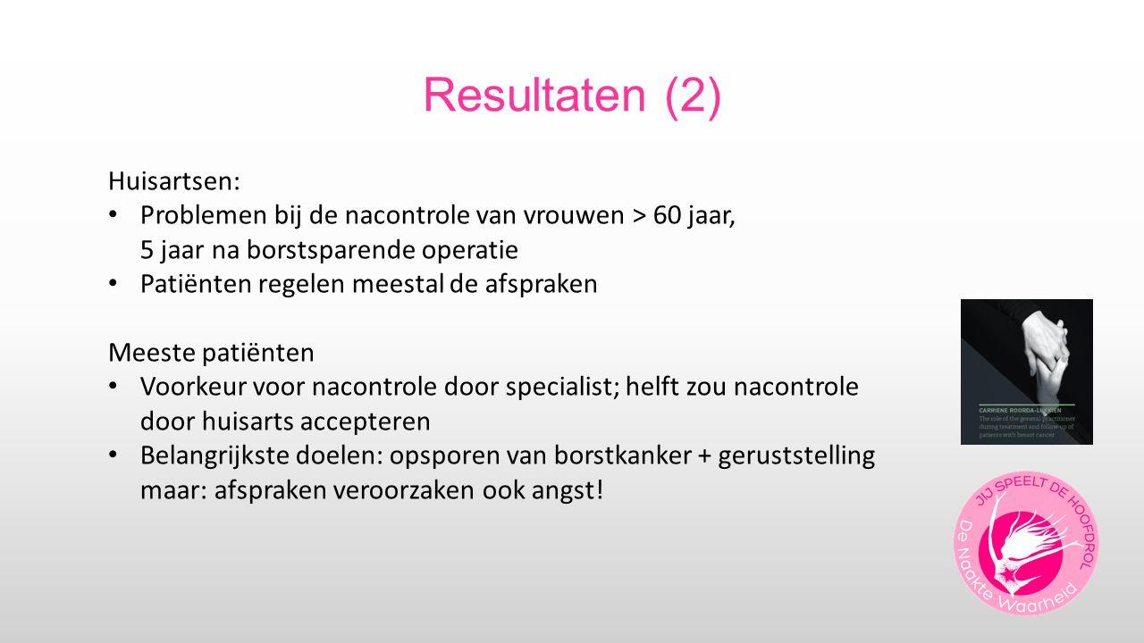 Resultaten (2) Huisartsen: Problemen bij de nacontrole van vrouwen > 60 jaar, 5 jaar na borstsparende operatie Patiënten regelen meestal de afspraken
