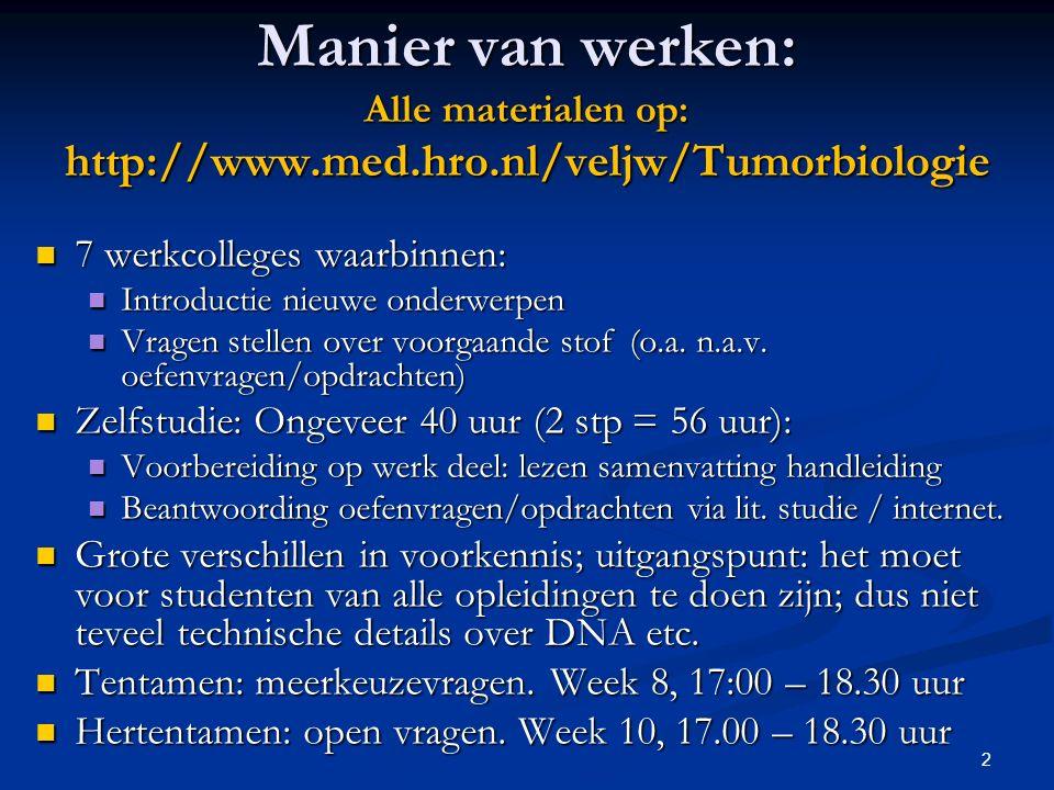 2 Manier van werken: Alle materialen op: http://www.med.hro.nl/veljw/Tumorbiologie 7 werkcolleges waarbinnen: 7 werkcolleges waarbinnen: Introductie n