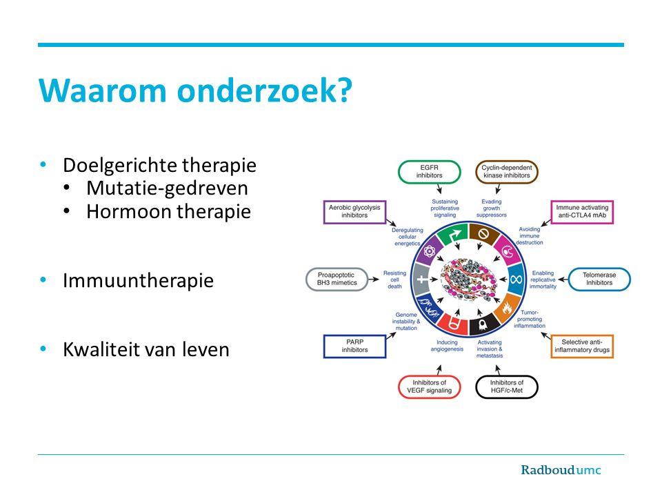 Waarom onderzoek? Doelgerichte therapie Mutatie-gedreven Hormoon therapie Immuuntherapie Kwaliteit van leven