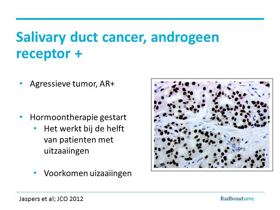 Salivary duct cancer, androgeen receptor + Agressieve tumor, AR+ Hormoontherapie gestart Het werkt bij de helft van patienten met uitzaaiingen Voorkom