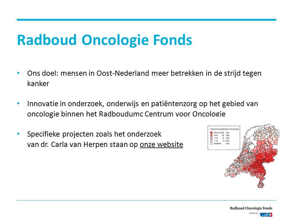 Radboud Oncologie Fonds Ons doel: mensen in Oost-Nederland meer betrekken in de strijd tegen kanker Innovatie in onderzoek, onderwijs en patiëntenzorg