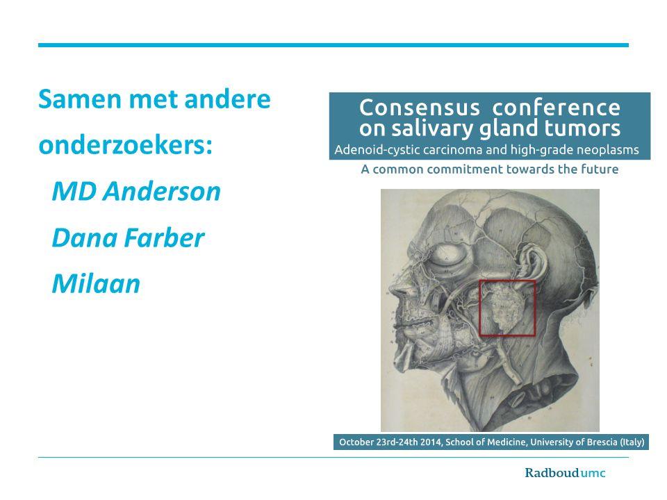 Samen met andere onderzoekers: MD Anderson Dana Farber Milaan