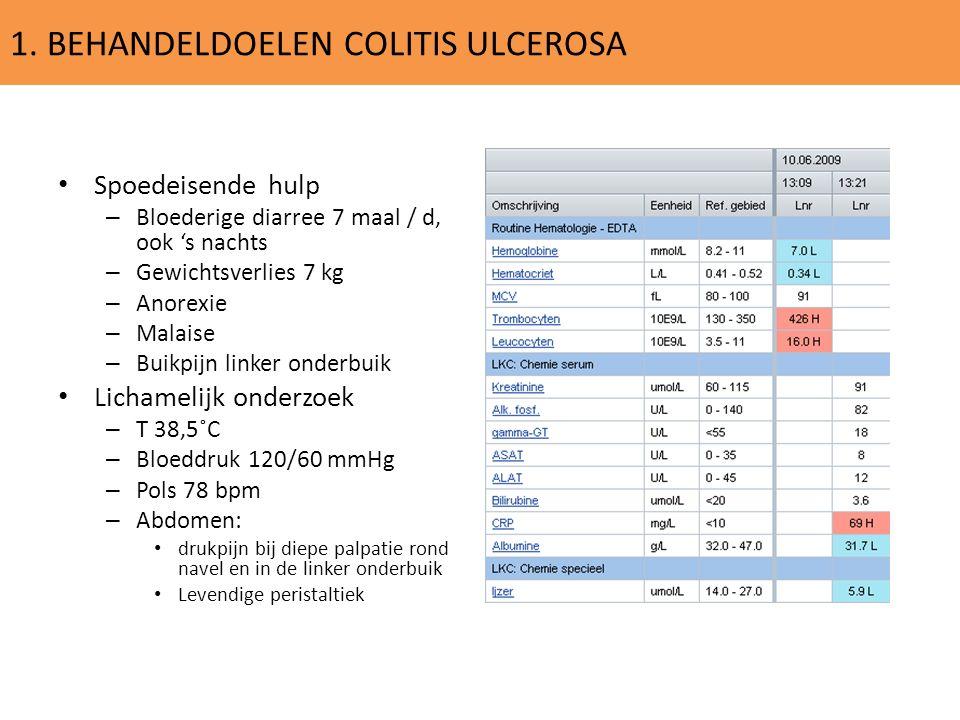 1. BEHANDELDOELEN COLITIS ULCEROSA Spoedeisende hulp – Bloederige diarree 7 maal / d, ook 's nachts – Gewichtsverlies 7 kg – Anorexie – Malaise – Buik