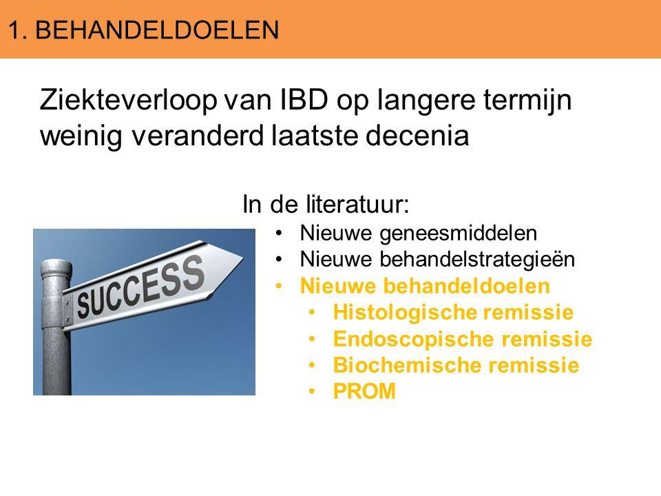 1. BEHANDELDOELEN Ziekteverloop van IBD op langere termijn weinig veranderd laatste decenia In de literatuur: Nieuwe geneesmiddelen Nieuwe behandelstr