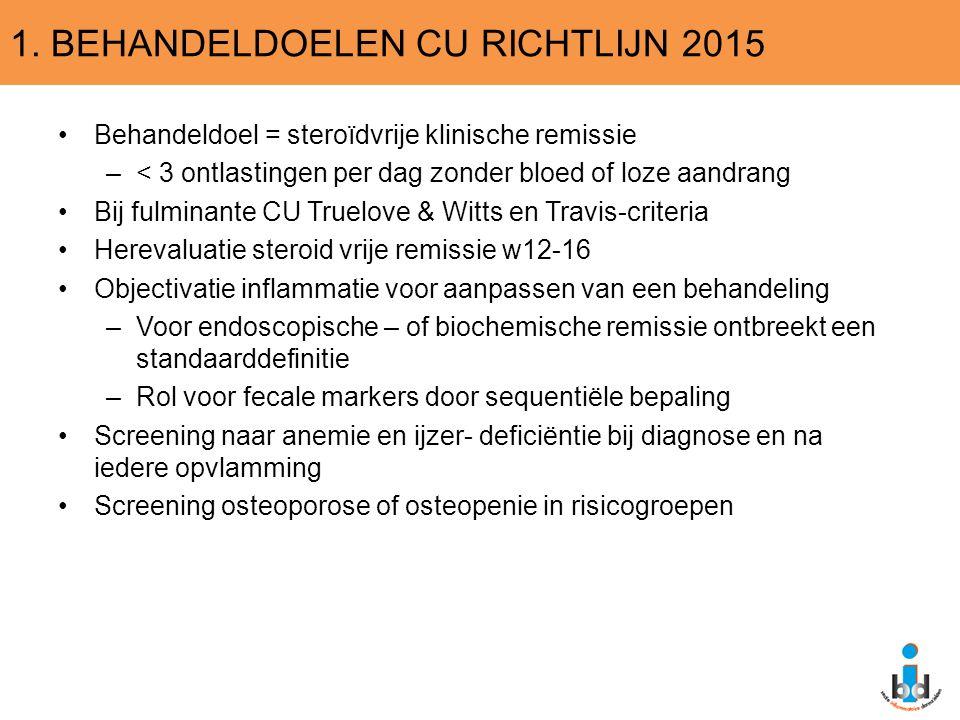 1. BEHANDELDOELEN CU RICHTLIJN 2015 Behandeldoel = steroïdvrije klinische remissie –< 3 ontlastingen per dag zonder bloed of loze aandrang Bij fulmina