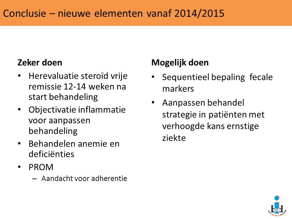Conclusie – nieuwe elementen vanaf 2014/2015 Zeker doen Herevaluatie steroïd vrije remissie 12-14 weken na start behandeling Objectivatie inflammatie