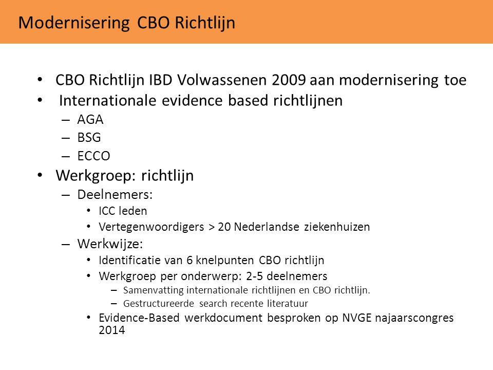 Modernisering CBO Richtlijn CBO Richtlijn IBD Volwassenen 2009 aan modernisering toe Internationale evidence based richtlijnen – AGA – BSG – ECCO Werk