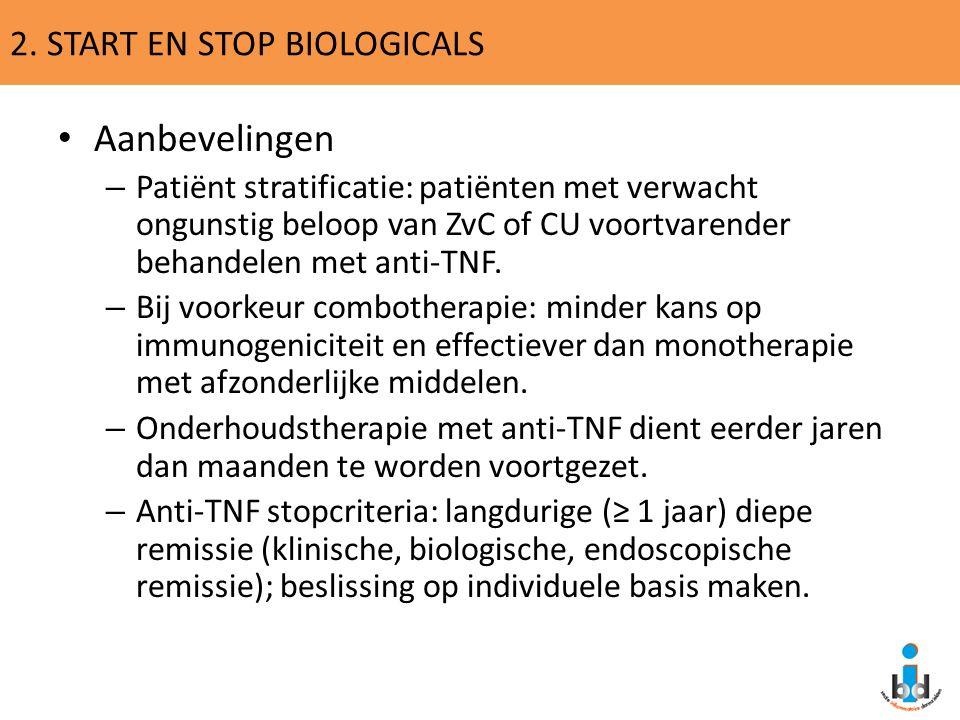 2. START EN STOP BIOLOGICALS Aanbevelingen – Patiënt stratificatie: patiënten met verwacht ongunstig beloop van ZvC of CU voortvarender behandelen met