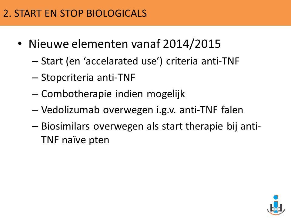 2. START EN STOP BIOLOGICALS Nieuwe elementen vanaf 2014/2015 – Start (en 'accelarated use') criteria anti-TNF – Stopcriteria anti-TNF – Combotherapie