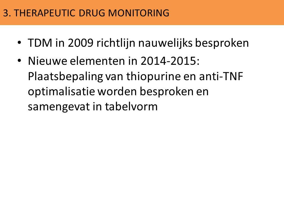 3. THERAPEUTIC DRUG MONITORING TDM in 2009 richtlijn nauwelijks besproken Nieuwe elementen in 2014-2015: Plaatsbepaling van thiopurine en anti-TNF opt