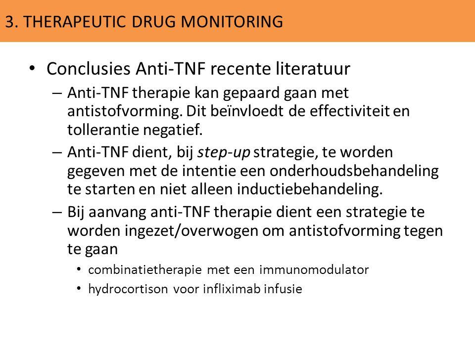 3. THERAPEUTIC DRUG MONITORING Conclusies Anti-TNF recente literatuur – Anti-TNF therapie kan gepaard gaan met antistofvorming. Dit beïnvloedt de effe