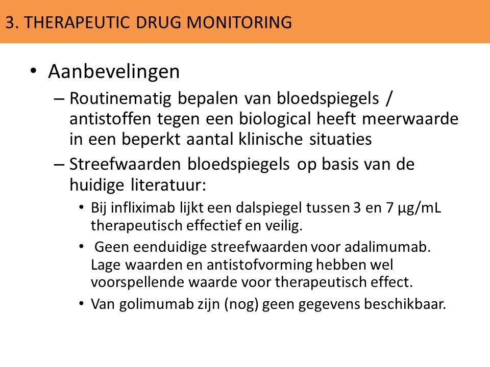 3. THERAPEUTIC DRUG MONITORING Aanbevelingen – Routinematig bepalen van bloedspiegels / antistoffen tegen een biological heeft meerwaarde in een beper