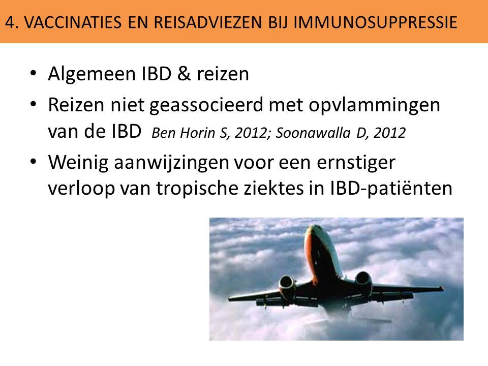 4. VACCINATIES EN REISADVIEZEN BIJ IMMUNOSUPPRESSIE Algemeen IBD & reizen Reizen niet geassocieerd met opvlammingen van de IBD Ben Horin S, 2012; Soon