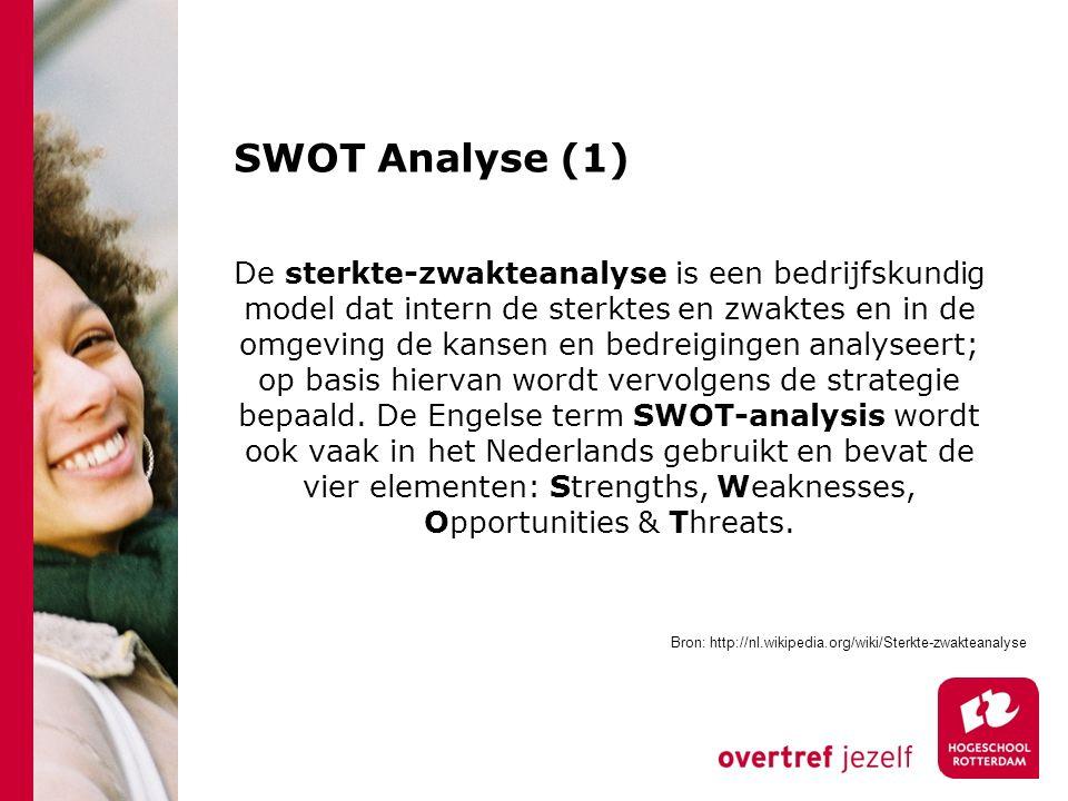 SWOT Analyse (1) De sterkte-zwakteanalyse is een bedrijfskundig model dat intern de sterktes en zwaktes en in de omgeving de kansen en bedreigingen analyseert; op basis hiervan wordt vervolgens de strategie bepaald.