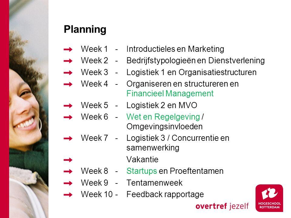 Planning Week 1-Introductieles en Marketing Week 2-Bedrijfstypologieën en Dienstverlening Week 3-Logistiek 1 en Organisatiestructuren Week 4-Organiseren en structureren en Financieel Management Week 5-Logistiek 2 en MVO Week 6-Wet en Regelgeving / Omgevingsinvloeden Week 7-Logistiek 3 / Concurrentie en samenwerking Vakantie Week 8-Startups en Proeftentamen Week 9-Tentamenweek Week 10-Feedback rapportage