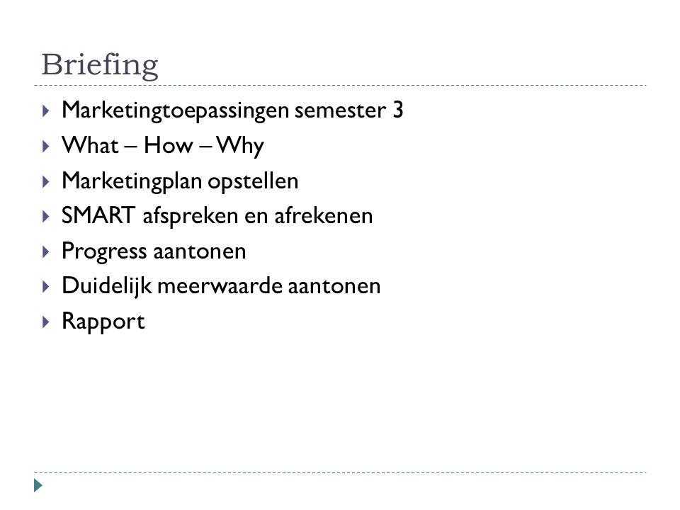 Briefing  Marketingtoepassingen semester 3  What – How – Why  Marketingplan opstellen  SMART afspreken en afrekenen  Progress aantonen  Duidelij