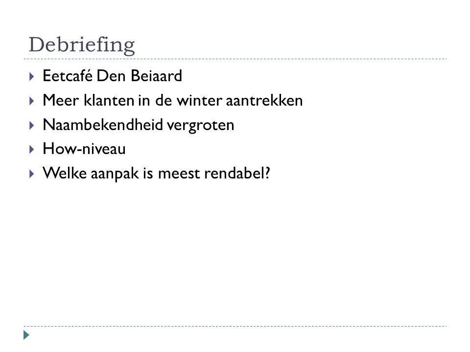 Debriefing  Eetcafé Den Beiaard  Meer klanten in de winter aantrekken  Naambekendheid vergroten  How-niveau  Welke aanpak is meest rendabel?