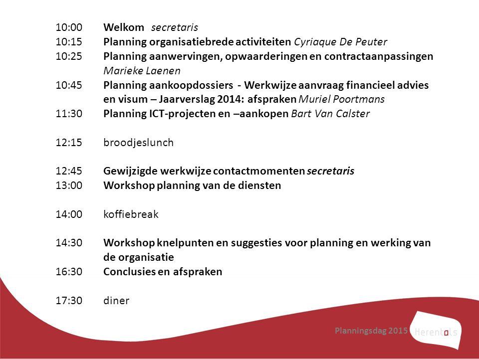 Planningsdag 2015 10:00Welkomsecretaris 10:15Planning organisatiebrede activiteiten Cyriaque De Peuter 10:25Planning aanwervingen, opwaarderingen en c