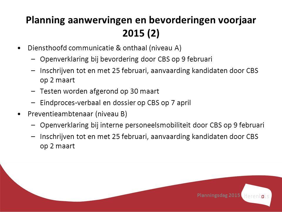 Planning aanwervingen en bevorderingen voorjaar 2015 (2) Diensthoofd communicatie & onthaal (niveau A) –Openverklaring bij bevordering door CBS op 9 f