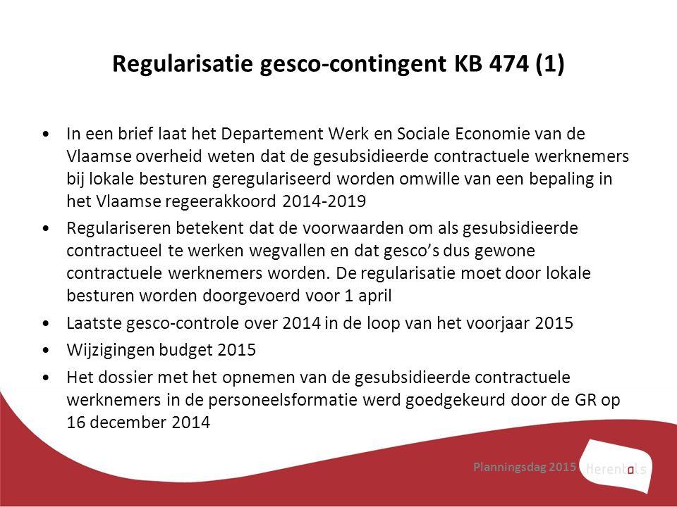 Regularisatie gesco-contingent KB 474 (1) In een brief laat het Departement Werk en Sociale Economie van de Vlaamse overheid weten dat de gesubsidieer