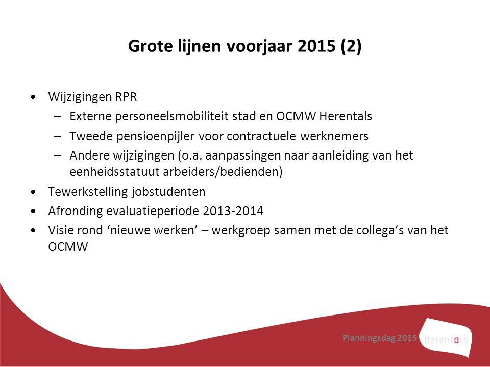 Grote lijnen voorjaar 2015 (2) Wijzigingen RPR –Externe personeelsmobiliteit stad en OCMW Herentals –Tweede pensioenpijler voor contractuele werknemer