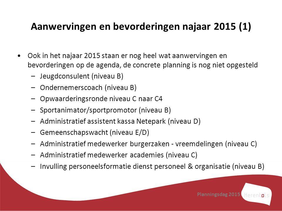 Aanwervingen en bevorderingen najaar 2015 (1) Ook in het najaar 2015 staan er nog heel wat aanwervingen en bevorderingen op de agenda, de concrete pla