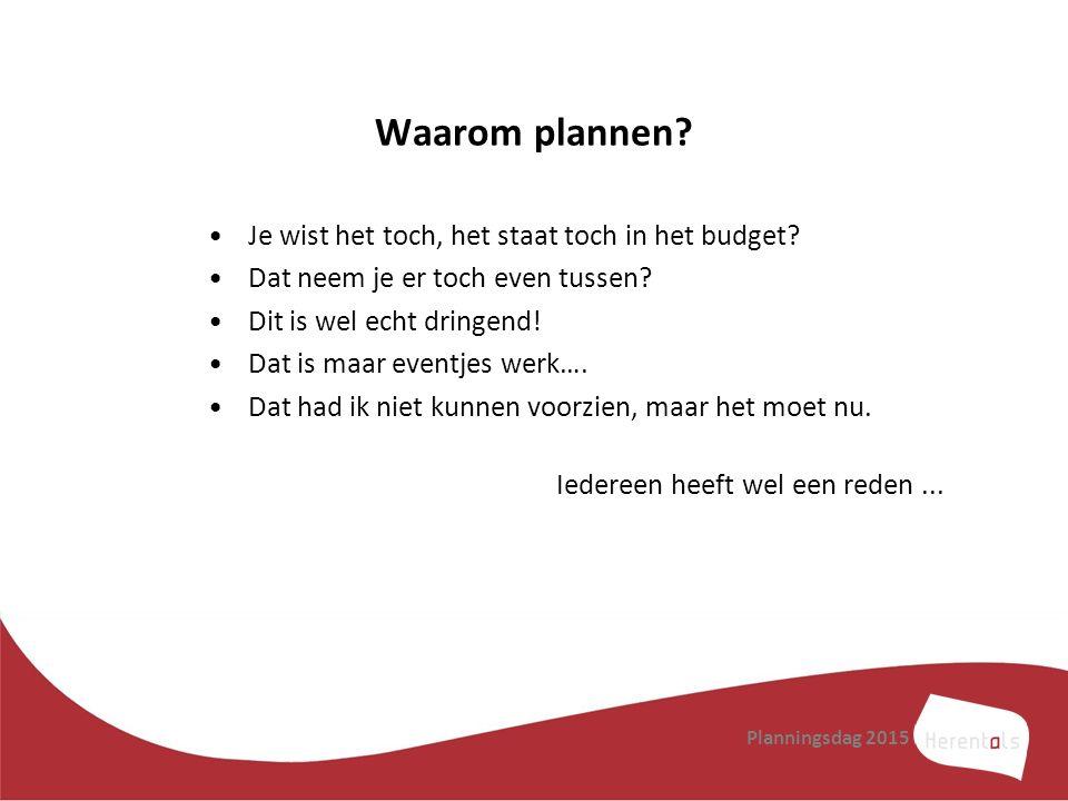 Waarom plannen? Je wist het toch, het staat toch in het budget? Dat neem je er toch even tussen? Dit is wel echt dringend! Dat is maar eventjes werk….