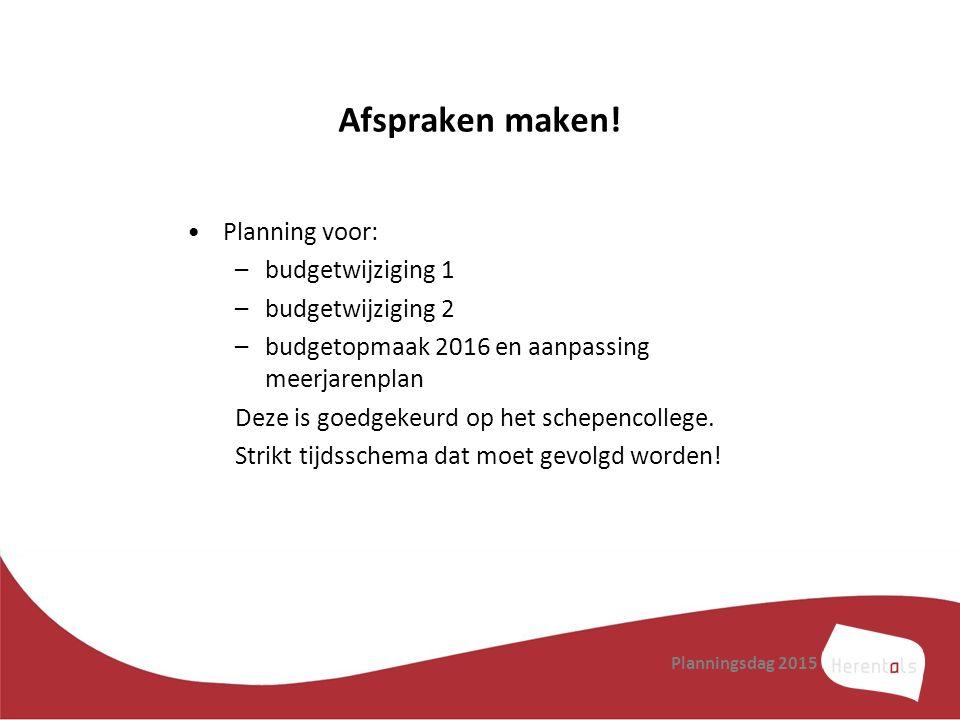 Afspraken maken! Planning voor: –budgetwijziging 1 –budgetwijziging 2 –budgetopmaak 2016 en aanpassing meerjarenplan Deze is goedgekeurd op het schepe