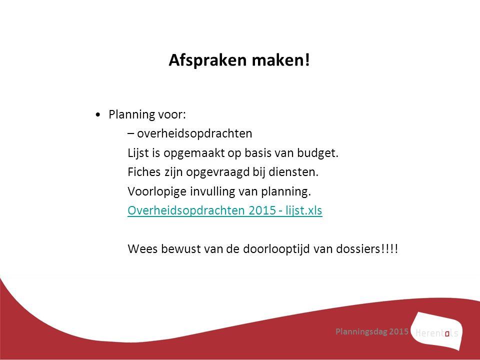 Afspraken maken! Planning voor: –overheidsopdrachten Lijst is opgemaakt op basis van budget. Fiches zijn opgevraagd bij diensten. Voorlopige invulling