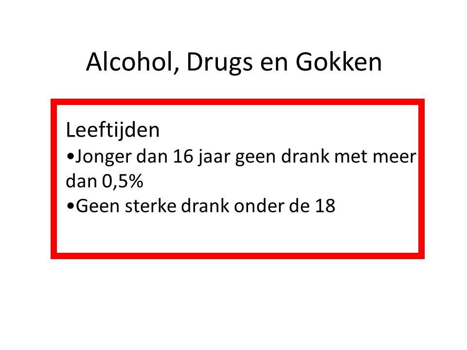 Alcohol, Drugs en Gokken Leeftijden Jonger dan 16 jaar geen drank met meer dan 0,5% Geen sterke drank onder de 18