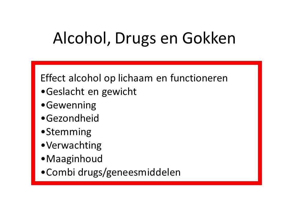 Alcohol, Drugs en Gokken Effect alcohol op lichaam en functioneren Geslacht en gewicht Gewenning Gezondheid Stemming Verwachting Maaginhoud Combi drug