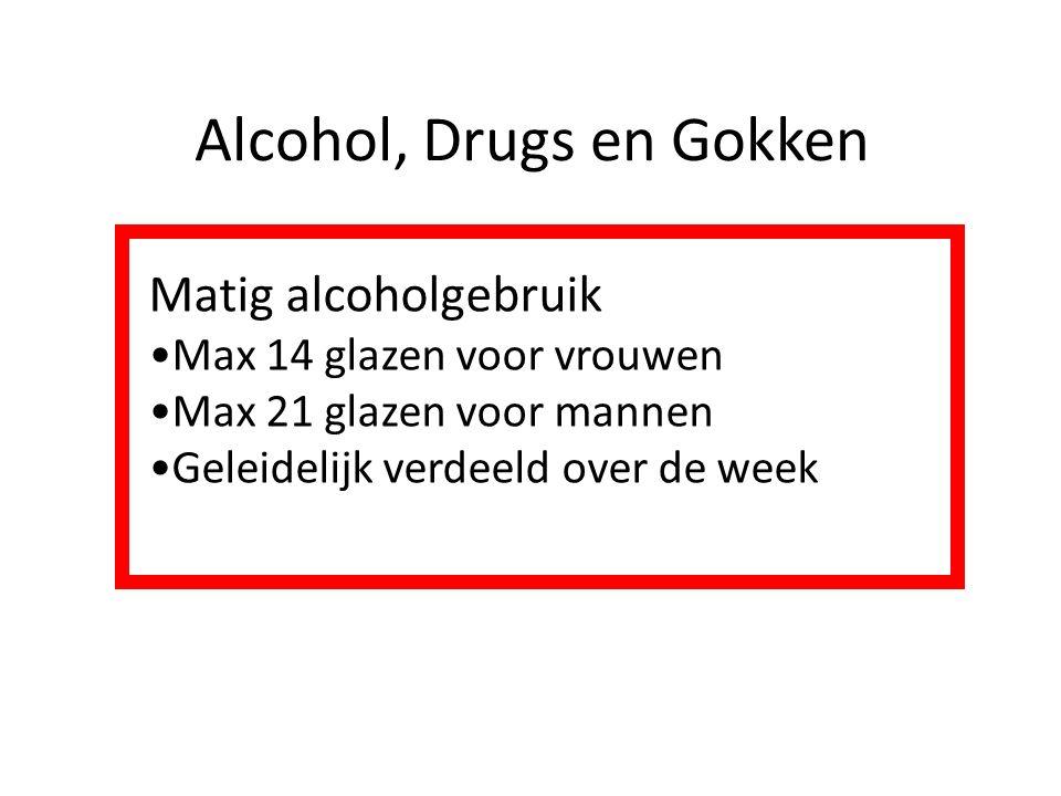 Alcohol, Drugs en Gokken Matig alcoholgebruik Max 14 glazen voor vrouwen Max 21 glazen voor mannen Geleidelijk verdeeld over de week
