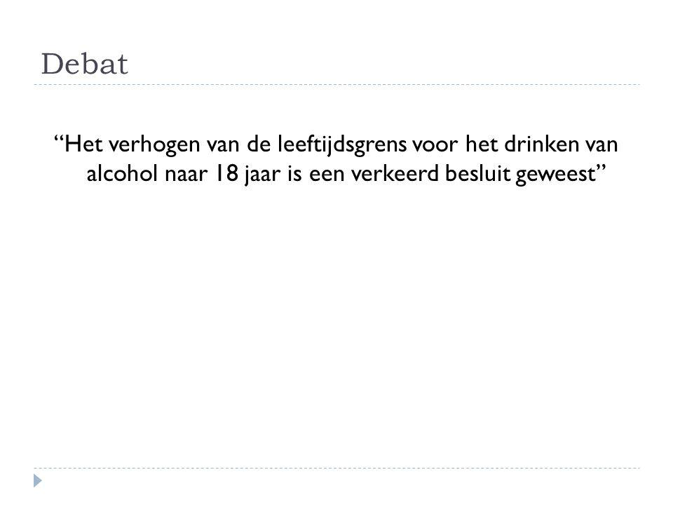 """Debat """"Het verhogen van de leeftijdsgrens voor het drinken van alcohol naar 18 jaar is een verkeerd besluit geweest"""""""