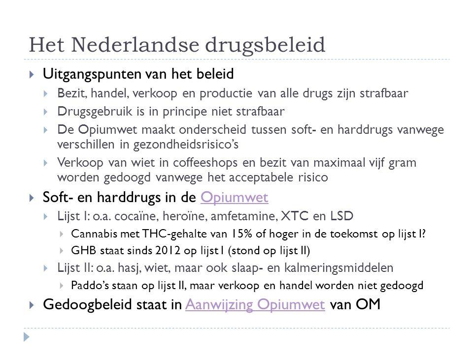 Het Nederlandse drugsbeleid  Uitgangspunten van het beleid  Bezit, handel, verkoop en productie van alle drugs zijn strafbaar  Drugsgebruik is in p