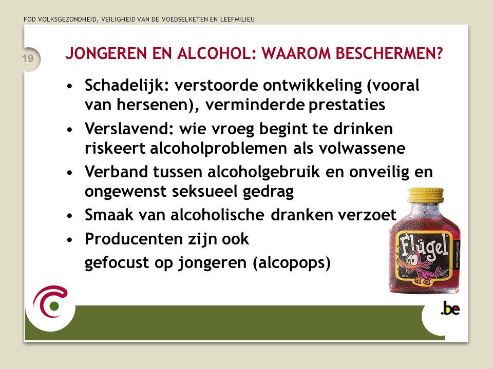 FOD VOLKSGEZONDHEID, VEILIGHEID VAN DE VOEDSELKETEN EN LEEFMILIEU 19 JONGEREN EN ALCOHOL: WAAROM BESCHERMEN? Schadelijk: verstoorde ontwikkeling (voor
