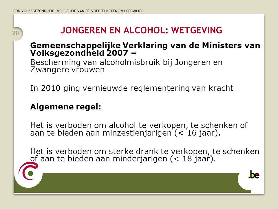 FOD VOLKSGEZONDHEID, VEILIGHEID VAN DE VOEDSELKETEN EN LEEFMILIEU 21 Alcoholische drank : Elke drank of product waarvan het effectief alcoholvolumegehalte hoger is dan 0,5 % vol.