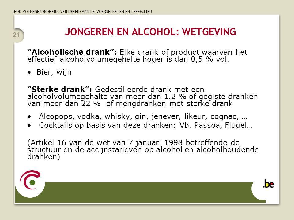 """FOD VOLKSGEZONDHEID, VEILIGHEID VAN DE VOEDSELKETEN EN LEEFMILIEU 21 """"Alcoholische drank"""": Elke drank of product waarvan het effectief alcoholvolumege"""