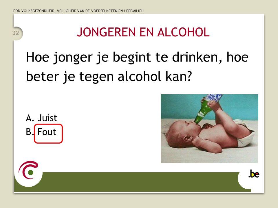 FOD VOLKSGEZONDHEID, VEILIGHEID VAN DE VOEDSELKETEN EN LEEFMILIEU JONGEREN EN ALCOHOL Hoe jonger je begint te drinken, hoe beter je tegen alcohol kan?