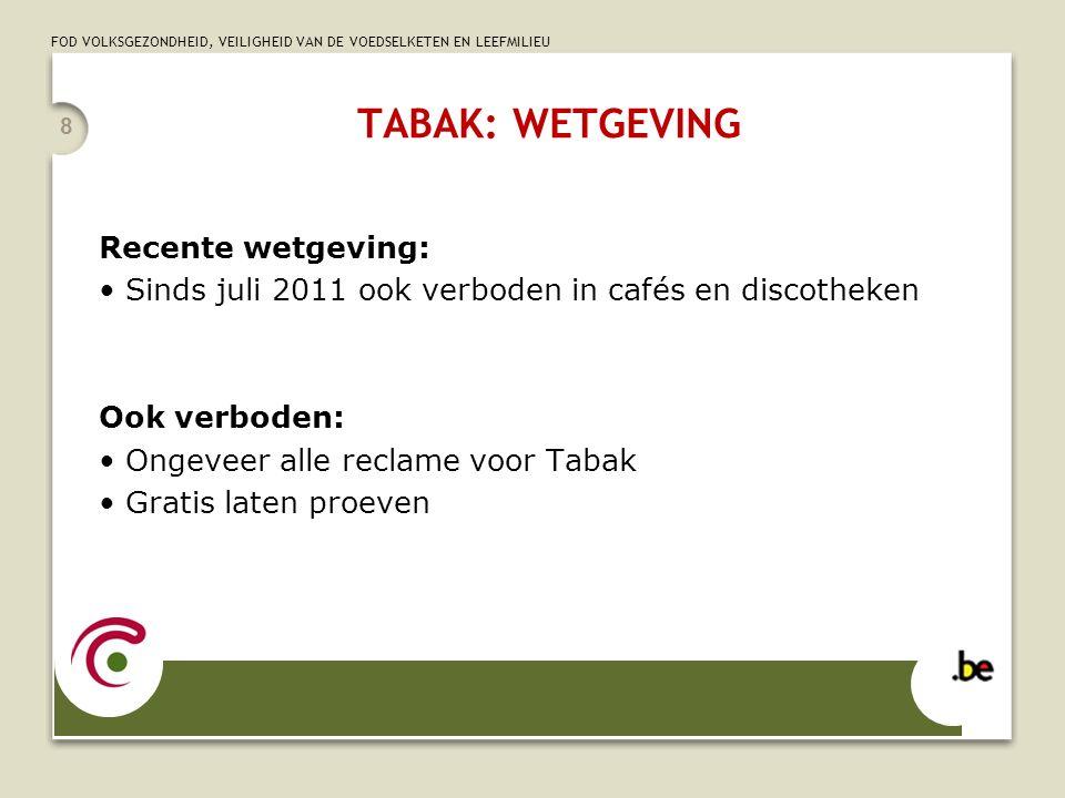 FOD VOLKSGEZONDHEID, VEILIGHEID VAN DE VOEDSELKETEN EN LEEFMILIEU TABAK: WETGEVING Recente wetgeving: Sinds juli 2011 ook verboden in cafés en discoth