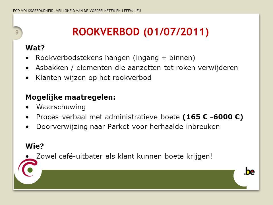 FOD VOLKSGEZONDHEID, VEILIGHEID VAN DE VOEDSELKETEN EN LEEFMILIEU ROOKVERBOD (01/07/2011) Wat? Rookverbodstekens hangen (ingang + binnen) Asbakken / e