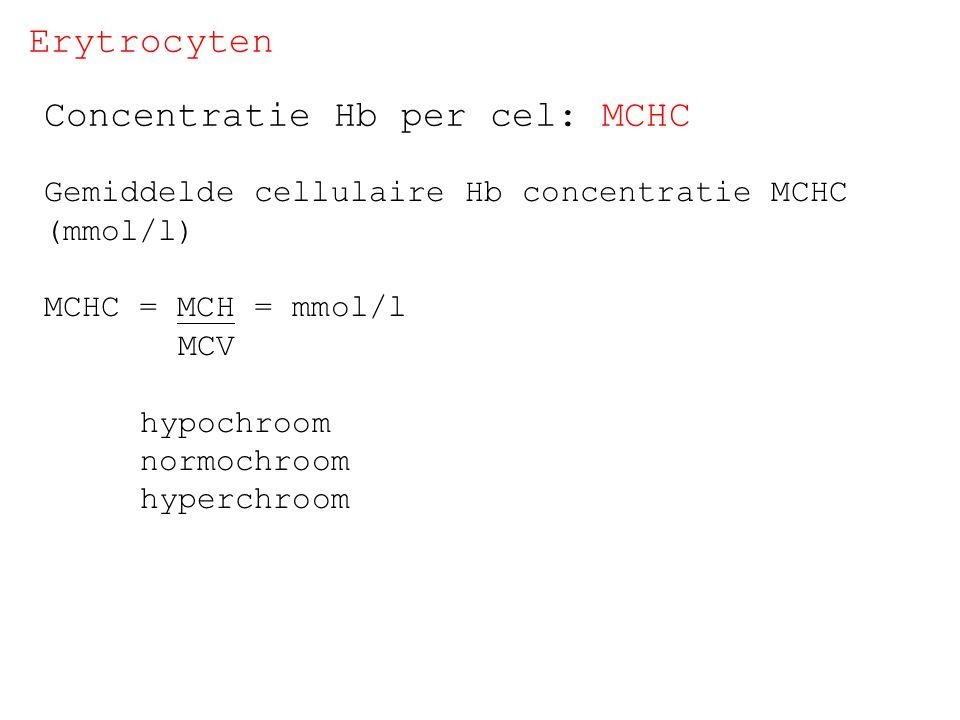 Erytrocyten Concentratie Hb per cel: MCHC Gemiddelde cellulaire Hb concentratie MCHC (mmol/l) MCHC = MCH = mmol/l MCV hypochroom normochroom hyperchro