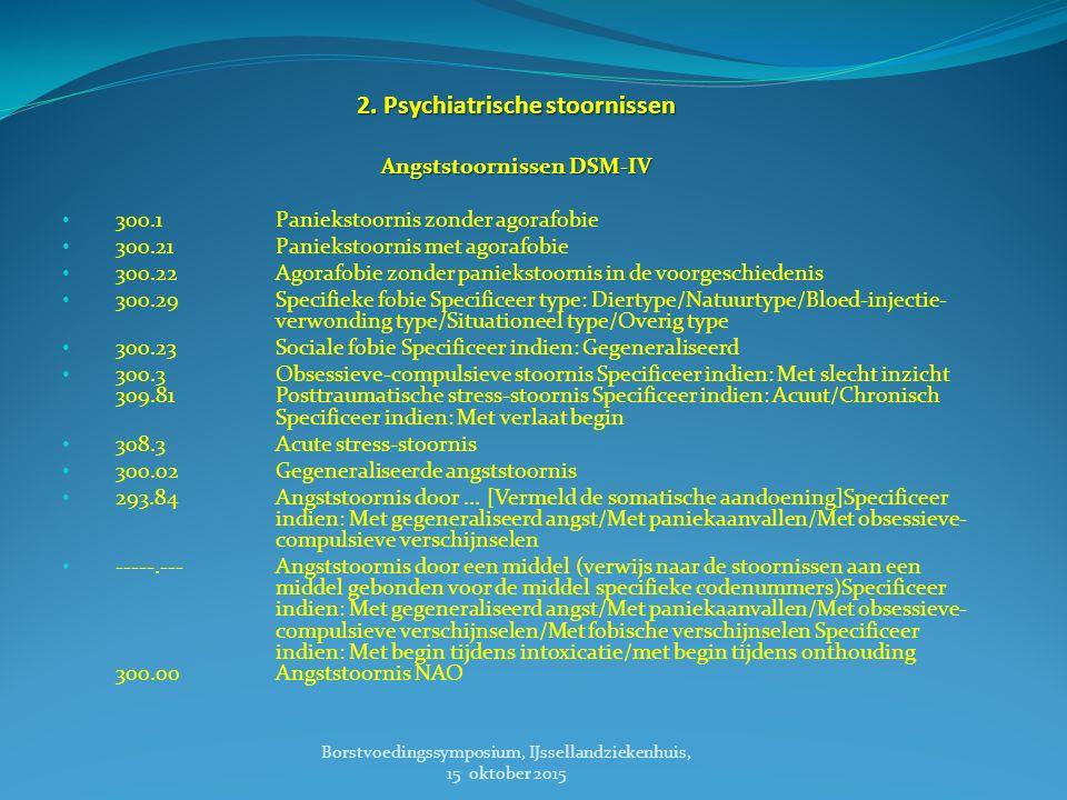 2. Psychiatrische stoornissen Angststoornissen DSM-IV 300.1 Paniekstoornis zonder agorafobie 300.21 Paniekstoornis met agorafobie 300.22 Agorafobie zo