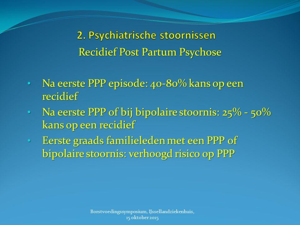 Recidief Post Partum Psychose Na eerste PPP episode: 40-80% kans op een recidief Na eerste PPP episode: 40-80% kans op een recidief Na eerste PPP of bij bipolaire stoornis: 25% - 50% kans op een recidief Na eerste PPP of bij bipolaire stoornis: 25% - 50% kans op een recidief Eerste graads familieleden met een PPP of bipolaire stoornis: verhoogd risico op PPP Eerste graads familieleden met een PPP of bipolaire stoornis: verhoogd risico op PPP Borstvoedingssymposium, IJssellandziekenhuis, 15 oktober 2015